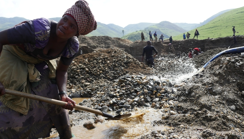 Mining site of Fungamwaka near Numbi in South Kivu /DRC. The mine contains Coltan, Casseterite and Tourmaline